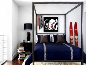 Blue and white bedroom in the style of pop art
