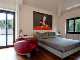Bedroom interior with elements of pop art style