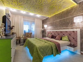 Modern bright bedroom lighting bed