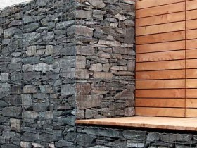 The idea of walls and garden benches gabion