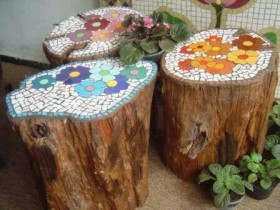 Decoration stumps mosaics