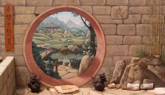 Настенная живопись в качестве иллюзии в саду