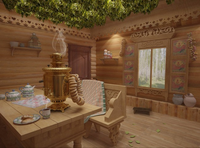 Интерьер классической русской бани