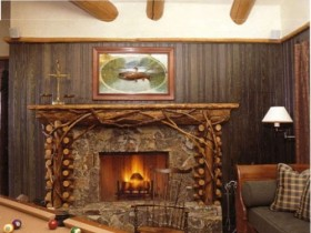 The fireplace in the lounge