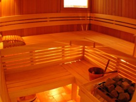 Steam room with rounded corners and soft lighting