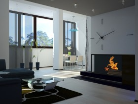 Living room with fireplace in the style of hi-tech