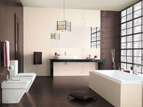 Bathroom design in the style of hi-tech