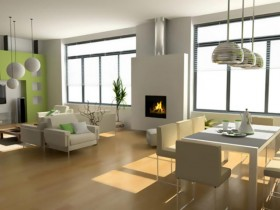 Living room with fireplace, high-tech