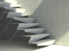 The staircase in the style of hi-tech