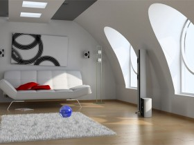 Bedroom in the style of hi-tech