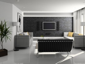 The design of the living room in the style of hi-tech