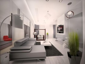 Creative living room design in the style of hi-tech