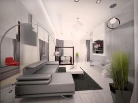 Креативный дизайн гостиной в стиле хай-тек