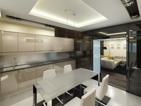 Creative dining room design in the style of hi-tech