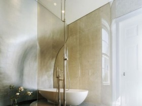 Creative bathroom design in the style of hi-tech