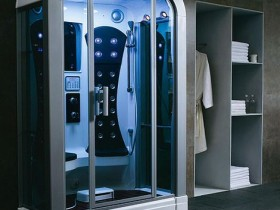 Creative design of the shower stall in the style of hi-tech