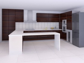 Kitchen design in hi-tech style