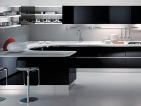 The kitchen is modern with elements of minimalism