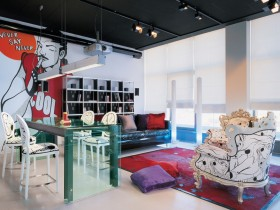 Elements of fusion style in interior room