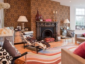 Living room interior with fireplace in the style of fusion