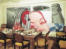 The dining room in the style of pop art