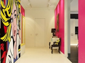 The interior hallway in the style of pop art