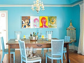 The interior of dining room in the style of pop art