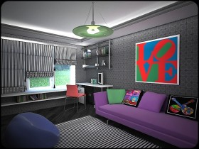 Room for the teenager in pop art style