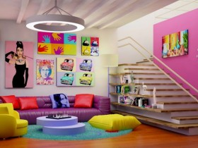 Original living room interior pop art