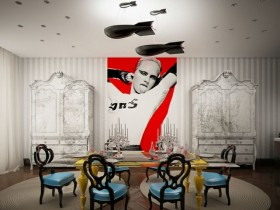 Dining room design in the style of pop art