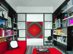 Room in the interior of the pop art