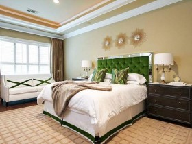 Bright bedroom with bright green headboard
