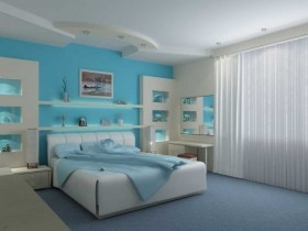 Modern bedroom in turquoise color