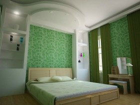 Bright bedroom in white-green tones