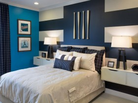 Bedroom for teen in dark blue color