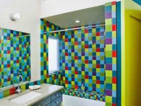 Bright tiles for bathroom