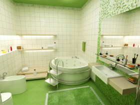 Bright bathroom in green color