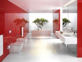 Large bathroom red