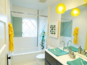 Bright interior small bathroom