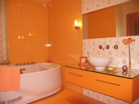 Bathroom interior orange color