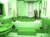 Зеленый цвет ванной комнаты