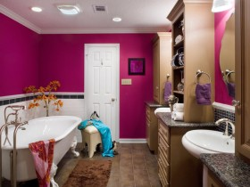 Bathroom decoration pink hue