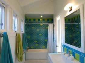 Bathroom tile bright colors