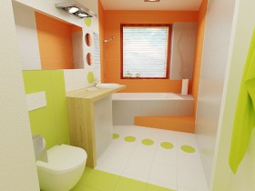 Bright bathroom in three colors