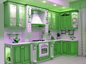 Bright kitchen in green and white shades