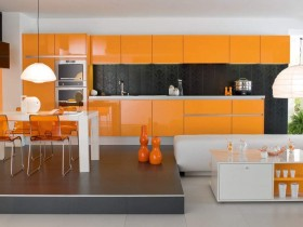 Bright kitchen in orange color