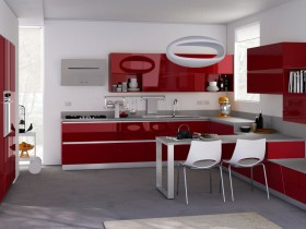 Modern kitchen red white