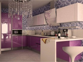Bright lilac kitchen in modern style