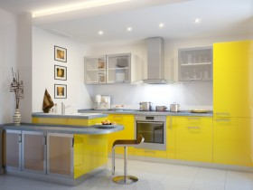 White kitchen with yellow furniture