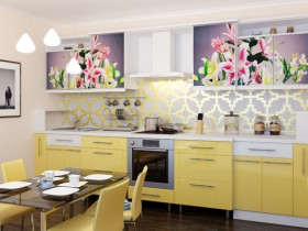 Bright kitchen colors with yellow furniture